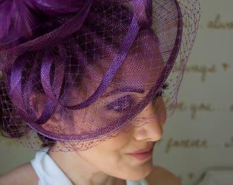 "Plum Fascinator - ""Noor"" Plum Fascinator Hat Headband w/Ribbon waves a plum birdcage veil"