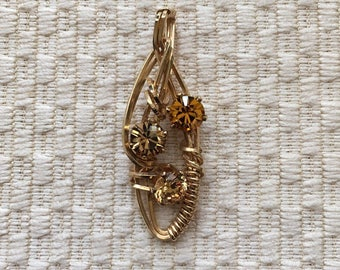 Topaz Multi Crystal Stone Pendant Wire Wrapped In 14K
