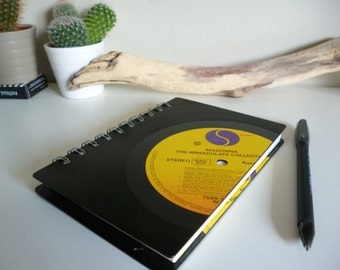 Madona Record Notebook A6 Recycled Vintage Vinyl LP Writing Pad Journal Unique Gift for music lovers 1980s Pop music Immaculate Yellow Black