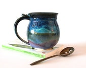 Lavender/Black/Blue Coffee Mug with Smooth Rounded Surface