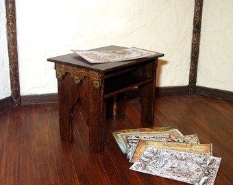 Map Table, Medieval Dollhouse Miniature, Hand Made