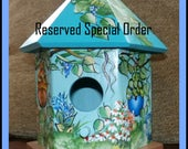 RESERVED For KAY-Charming Hand Painted Bird House - Indoor Decorative Painted Birdhouse - Light Weight - Ready To Ship