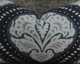 Designer Pillow Cover -  Lumbar, 16 x 16, 18 x 18, 20 x 20, 22 x 22. 24 x 24 - Dwell Studio - Kavali Ogee Midnight Blue