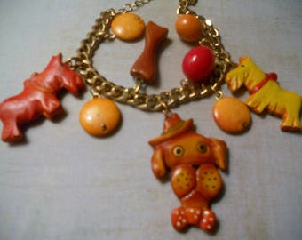 Dog Charm Bracelet - Dogs with Big Beads and Chain - Scotties Lovers and Norwich Terrier Lovers and Dog Lovers
