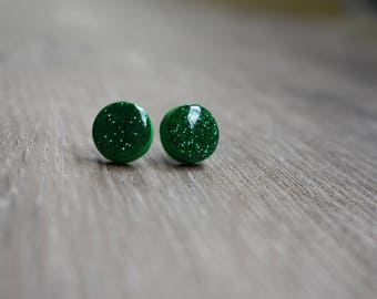 Glitter earrings, 12mm studs, polymer clay and resin, emerald green