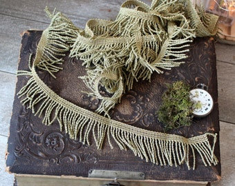 French antique golden trim metallic 4 yards  gold 1890s 19th collection old clothes vestments church linen