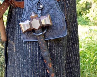 Heavy metal leather wrapped Warhammer with quick draw holster