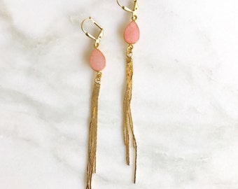Pink Druzy and Gold Tassel Earrings.  Drop. Dangle. Gold Tassel Jewelry. Pink Jewelry. Jewelry Gift.  Dangle Earrings. Gift for Her.