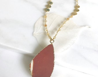 Red Agate Pendant Necklace. Layering Necklace. Long Earth Rone Slice Necklace. Long Gold Necklace. Boho Jewelry. Pendant. Gift.