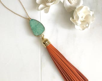 Tassel Necklace. Turquoise And Orange Tassel Necklace. Leather Tassel.  Geode Tassel Necklace. Beaded Tassel Necklace.  Boho Jewelry. Gift.