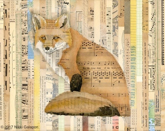 Sitting Fox on Collage : archival giclee print artwork reproduction of original mixed media soft pastel and vintage book page collage