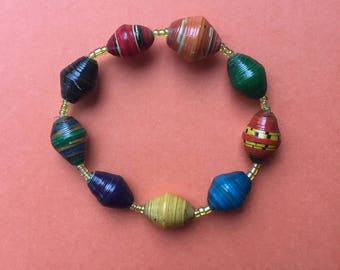 Colourful bracelet, paper bracelet, paper bead bracelet, stretch bracelet, quirky bracelet, quirky jewelry, stacking bracelet, paper jewelry
