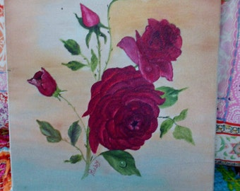 Vintage classic old painting of roses on canvas Tuscan OOAK by Ruby