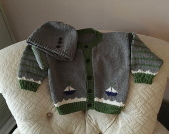 Sailboat Cardigan and Hat
