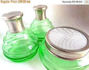 CLEARANCE SALE 20's Green Glass Dresser Set Guilloché Silver Lids Jar and 2 Bottles Art Deco Boudoir decor 3 Piece Collectible Charmer