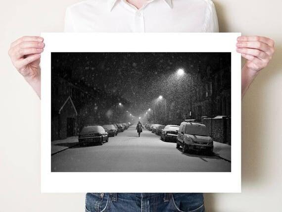London photograph, snowy black and white photography, Hackney winter street scene fine art photo. London artwork decor. Small / large format