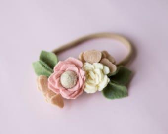 Baby Headband, Felt Flower, Felt Flower crown, Felt Flower headband, Flower crown, Baby flower crown, Baby felt headband, felt headband