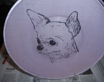 Chihuahua decorative  plate, fabric backed glass plate, dog, chihuahua lovers, collector, Chihuahua