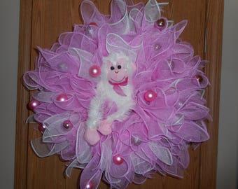 Deco mesh wreath. monkey deco mesh wreath, wreath, deco mesh, monkey, pink, white