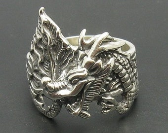 Sterling silver ring dragon solid 925 pendant