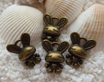 Antique Brass Bunny Charms - 18mm x 13mm - 4 pcs
