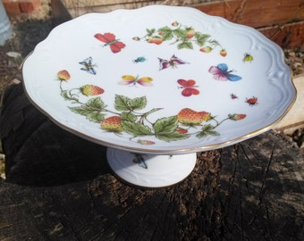 Butterflies,Lady Bugs & Strawberries//Small Pedastal Cake Stand by Lentil Ardalt//6178//Cookie,Cupcake,Muffin,Mini Cake//Upcycle Bird Bath
