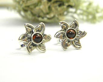 Small garnet earrings sterling silver flower studs, silver post earrings, garnet jewelry January birthstone