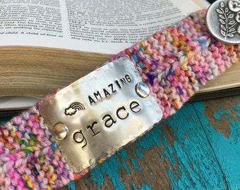 Amazing Grace Custom Stamped Cuff Bracelet, Christian Jewelry, Custom Pink Knitted Bracelet