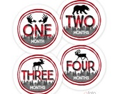 RTS Baby Boy Monthly Bodysuit Stickers, Buffalo Plaid Woodland - Sets of 4 months or 1-12 Months, Deer, Moose, Bear, Wildlife