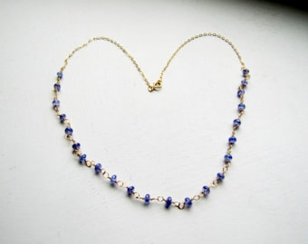 Tanzanite Necklace Blue Gemstone Necklace Gemstone Jewelry Gold Necklace Gold Gemstone Necklace Valentine's Day Gift Mother's Day Gift