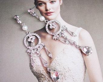 chandelier earrings, bridal earrings, wedding earrings, pearl earrings, wedding jewelry, crystal earrings, long earrings, statement earrings