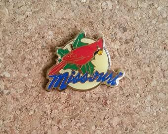 Missouri Vintage Enamel Pin | Cardinal | Holly | Midwest |  Cloisonne | Lapel