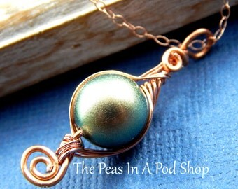 Peas in a pod, Pea pod necklace, one pea in a pod necklace, Rose Gold Filled Chain