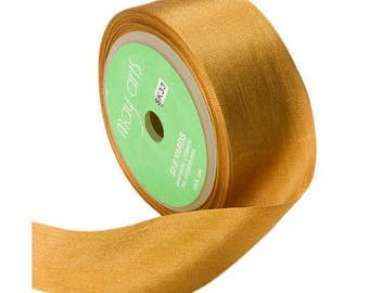 Gold Silk Ribbon, 1.25 Inch Silk Ribbon, Gold Ribbon. Gift Wrap, Packaging, Wedding Favors,