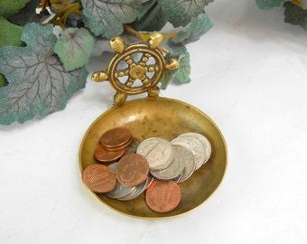 Vintage brass nautical ash tray brass ships wheel beach nautical trinket dish ship helm ash tray man cave guy gift office decor dresser tray