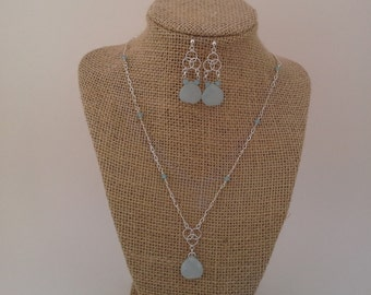 Crystal beaded chain with Agate Gemstone Pendant Necklace and Earring Set