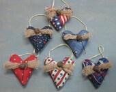 Small Americana Hanging Hearts - Set of 6 - Primitive Patriotic Mini Heart Ornaments - July 4th - Love Decor - Americana Country Primitive