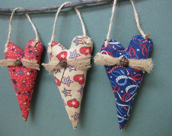 Primitive Americana Hanging Hearts - Set of 3 - Patriotic Grungy Fabrics - July 4th Home Decor - Primitive Stuffed Red White & Blue Hearts