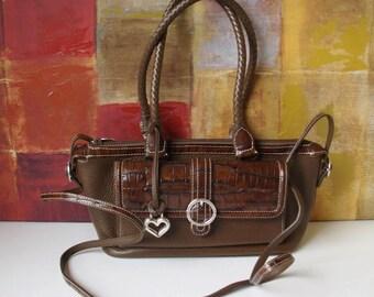 Excellent BRIGHTON Handbag Brown Leather & Moc Croc Shoulder or Cross Body Convertible