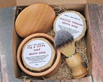 Men's Shaving Kit, Vegan Shave Soap, Shave Brush, Shave Bowl