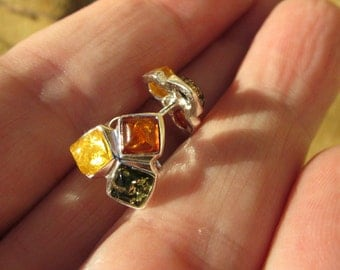 Sale, Simple Beauty,  Small and Cute Baltic Amber Stud Earrings, 925 Silver, Three different Shades