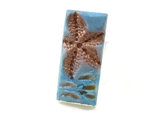 Beach Theme Starfish and Ocean Waves Adjustable Ring