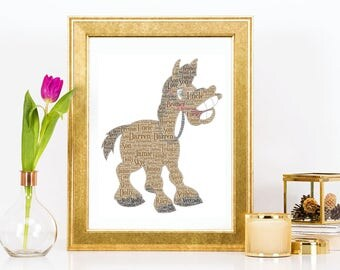 Cartoon Horse Word Art Print Fun Present Birthday Christmas Gift