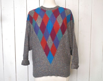 Vintage Batwing Sweater 1980s Gray Checker Print Slouchy Sweater Medium Large