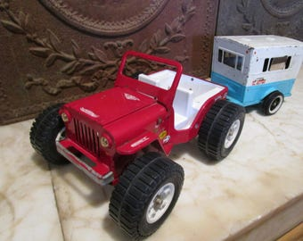 Vintage, Cherry Red, 'Tonka' Jeep with 'Nylint 'Sportsman' camper trailer!