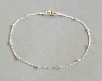 Delicate Gold Satellite Bracelet or Anklet, Layering Bracelet, Gold Dotted Bracelet, Sterling Silver Bead Bracelet