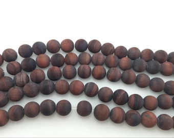 4mm / 6mm / 8 mm / 10mm / 12mm Round Matte Red Tiger Eye 15''L, 38 cm Loose beads Semiprecious Gemstone Bead Wholesale Beads Supply