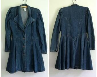 90s blue denim flared western dress M - L