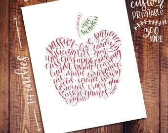Scripty Custom Teacher Art - 11x14 - Printable Digital File - Wall Decor Gifts