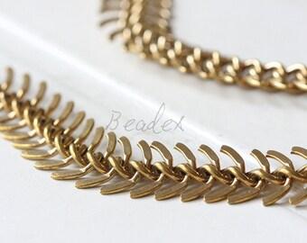 One Foot / Raw Brass / Fish Bone Chain / Chain (CP112)